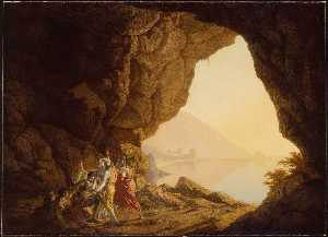 Joseph Wright Of Derby - Grotto by the Seaside in the Kingdom of Naples with Banditti, Sunset