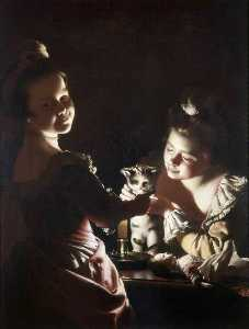 Joseph Wright Of Derby - Two Girls Dressing a Kitten by Candlelight Alternative title Dressing the Kitten