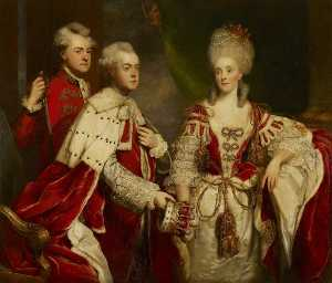 Joshua Reynolds - George, 2nd Earl Harcourt, his wife Elizabeth, and brother William