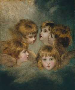 Joshua Reynolds - A Child's Portrait in Different Views 'Angel's Heads'