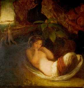 George Romney - 'A Midsummer Night's Dream', Act II, Scene 2, Titania Reposing with Her Indian Votaries