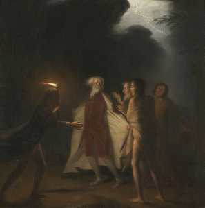 George Romney - King Lear in the Tempest Tearing off his Robes