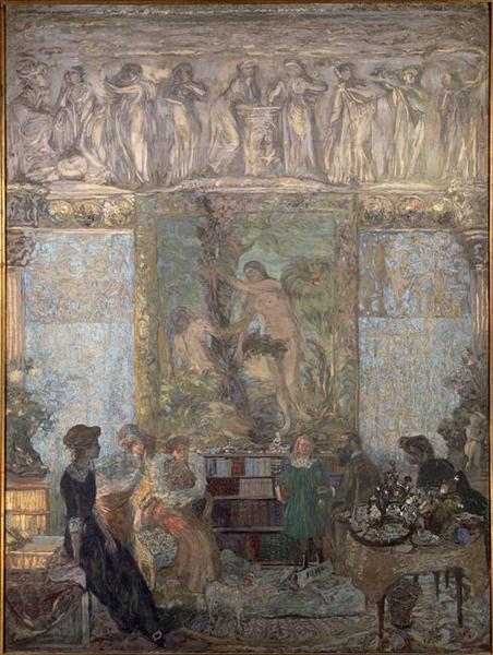 LA BIBLIOTHEQUE, Tempera by Jean Edouard Vuillard (1868-1940, France)
