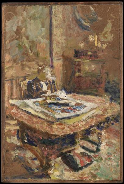 INTERIEUR, Oil by Jean Edouard Vuillard (1868-1940, France)