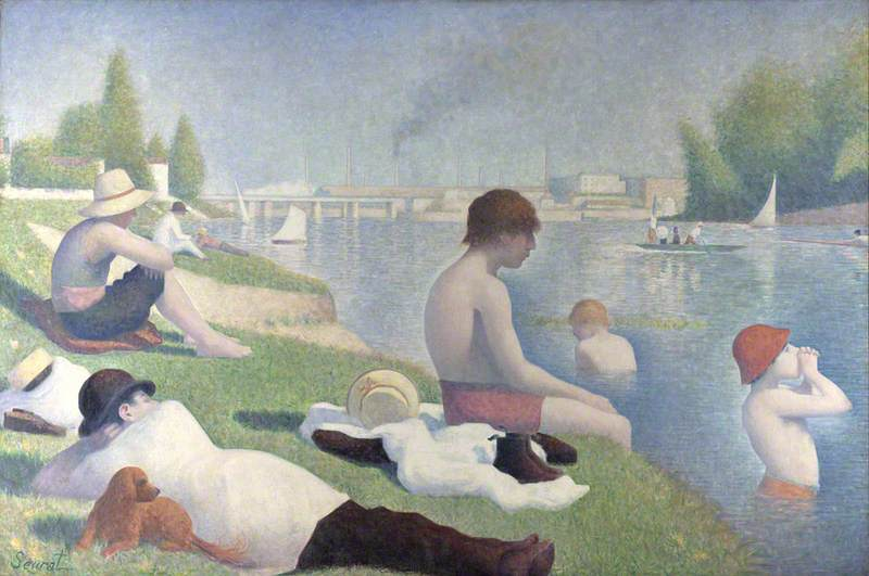 Bathers at Asnières, Oil On Canvas by Georges Pierre Seurat (1859-1891, France)