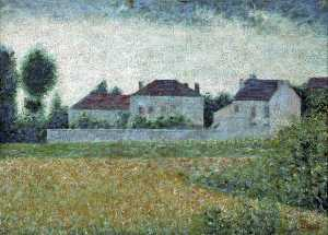 Georges Pierre Seurat - Ville d-Avray, France, maisons blanches