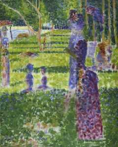 Georges Pierre Seurat - Study for -A Sunday on the Island of La Grand Jatte- Couple Walking
