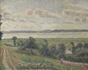 Order Paintings Reproductions | View over the Estuary, Harfleur, 1903 by Lucien Pissarro (1830-1944) | WahooArt.com