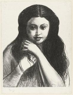 Head of a Girl With Black Hair (Femme avec cheveux noir) from Metamorphoses, Lithography by André Derain (1880-1954, France)