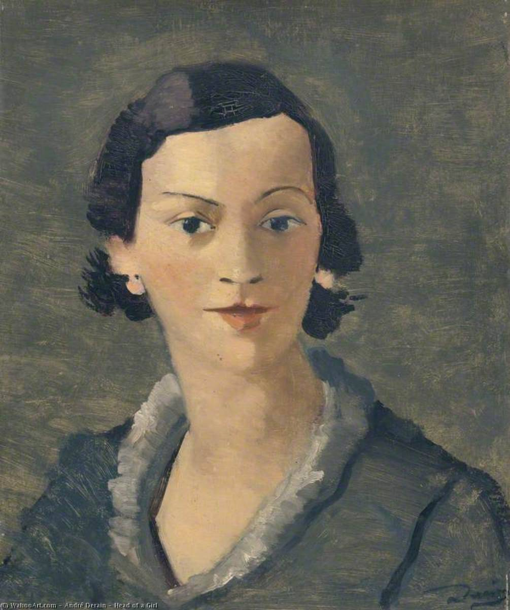 Head of a Girl, Oil On Canvas by André Derain (1880-1954, France)