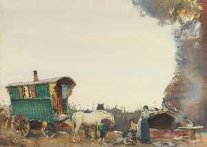Alfred James Munnings - A Gypsy Encampment
