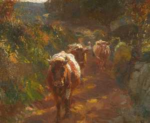 Alfred James Munnings - Bringing up the Cows