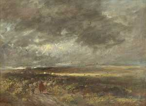 David Cox The Elder - Moorland Landscape Shepherd and Sheep