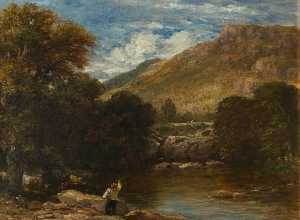 Buy Museum Art Reproductions | Pont y Pair, Conwy, 1851 by David Cox The Elder | WahooArt.com