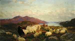 Henry William Banks Davis - Landscape with Cattle and Sheep