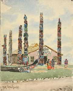 Theodore J. Richardson - Alaska Building with Totems at St. Louis Exposition