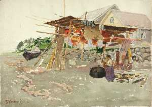 Theodore J. Richardson - Salmon Drying, Indian Village, Alaska