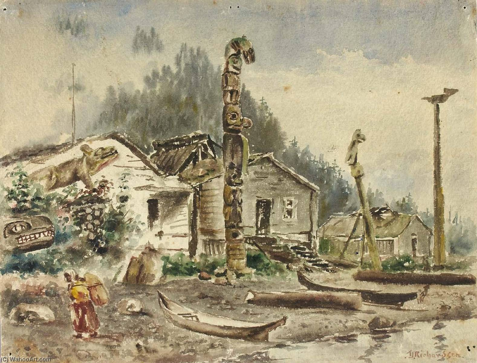 View of Wrangell, Alaska, in 1884, 1884 by Theodore J. Richardson | Art Reproductions Theodore J. Richardson | WahooArt.com