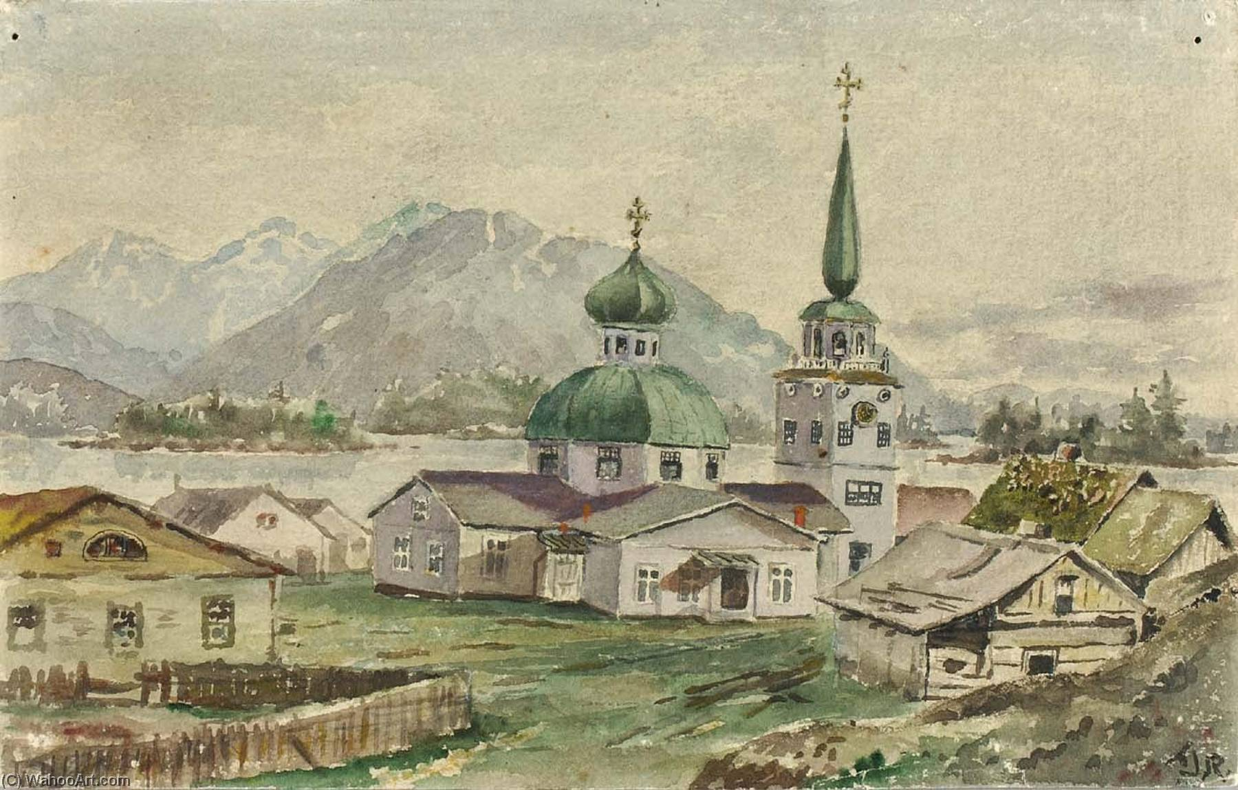 Rear View of Greek Church, Sitka, 1888, 1888 by Theodore J. Richardson | Art Reproductions Theodore J. Richardson | WahooArt.com