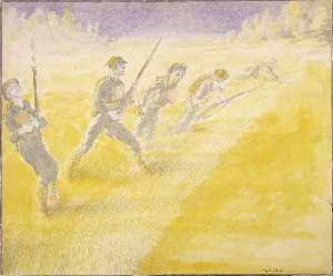 Claggett Wilson - First Attack on the Bois de Belleau, June 6, 1918, at Five O'Clock 3rd Battalion, 5th Regiment of Marines Advancing