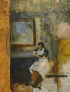 Margaret Frances Anne Vane-Tempest-Stewart - A Woman in a White Apron, Sitting under a Picture