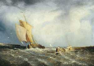 John H (Jock) Wilson - Coast Scene with Fishing Boats