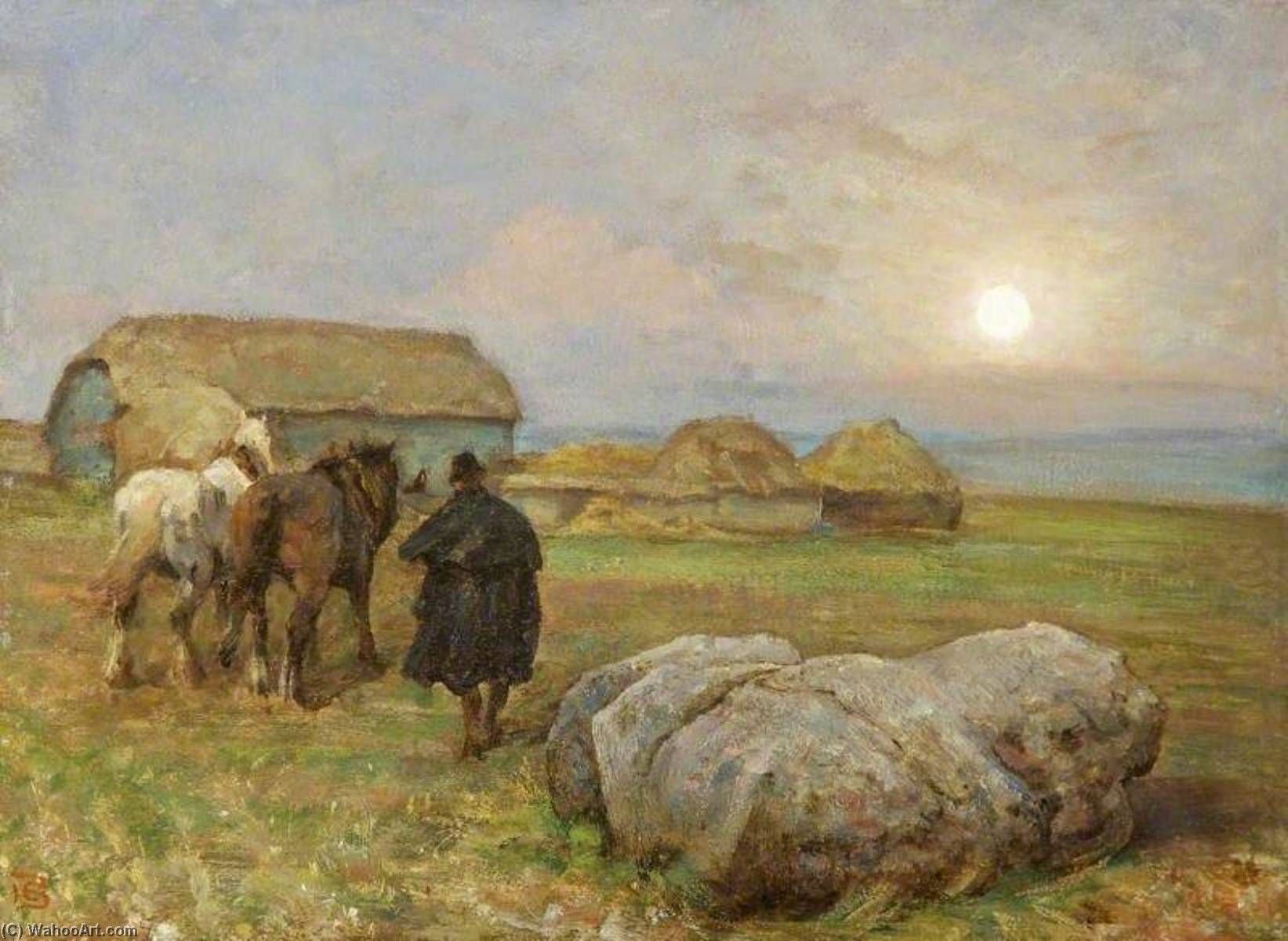 Durrington Stone, Wiltshire, Moonrise, Oil On Canvas by Edgar Barclay
