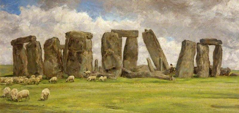 Stonehenge from the West, Wiltshire, Oil On Canvas by Edgar Barclay