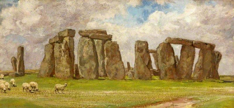 Stonehenge from the South East, Wiltshire, Oil On Canvas by Edgar Barclay