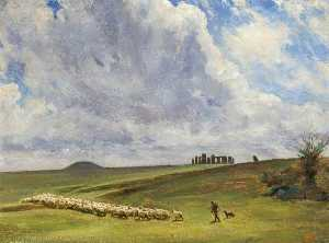 Stonehenge, Wiltshire, Barrows and Parallel Banks, Oil On Canvas by Edgar Barclay (order Fine Art oil painting Edgar Barclay)
