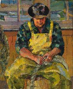 Lois Mailou Jones - Seated Man in Yellow Overalls