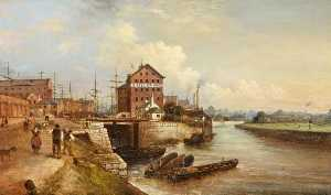 Edward Smith - The Quay and Docks, Gloucester, 1890