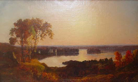 Lake View with Boats, (painting), 1872 by Jasper Francis Cropsey (1823-1900, United States) | Oil Painting | WahooArt.com