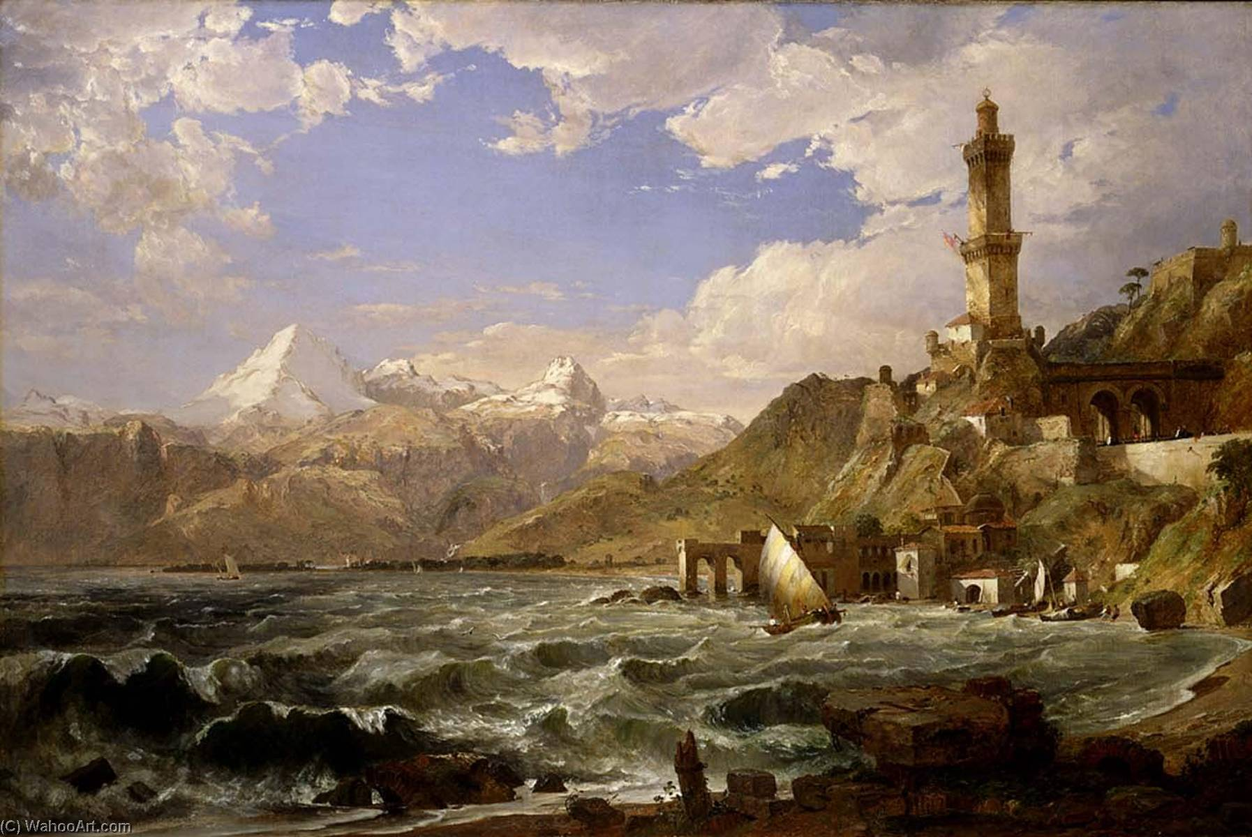 The Coast of Genoa, 1854 by Jasper Francis Cropsey (1823-1900, United States) | WahooArt.com