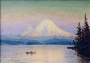 James Everett Stuart - Mt. Rainier from Lake Washington, (painting)