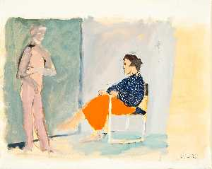 Order Paintings Reproductions | Model With Red Skirt by Giacomo Manzu (1908-1991) | WahooArt.com