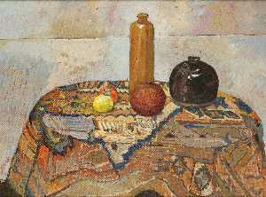 Irving Block - Still Life With Pomegranate, Lemon, Soy Pot, Wine Jug On Oriental Rug