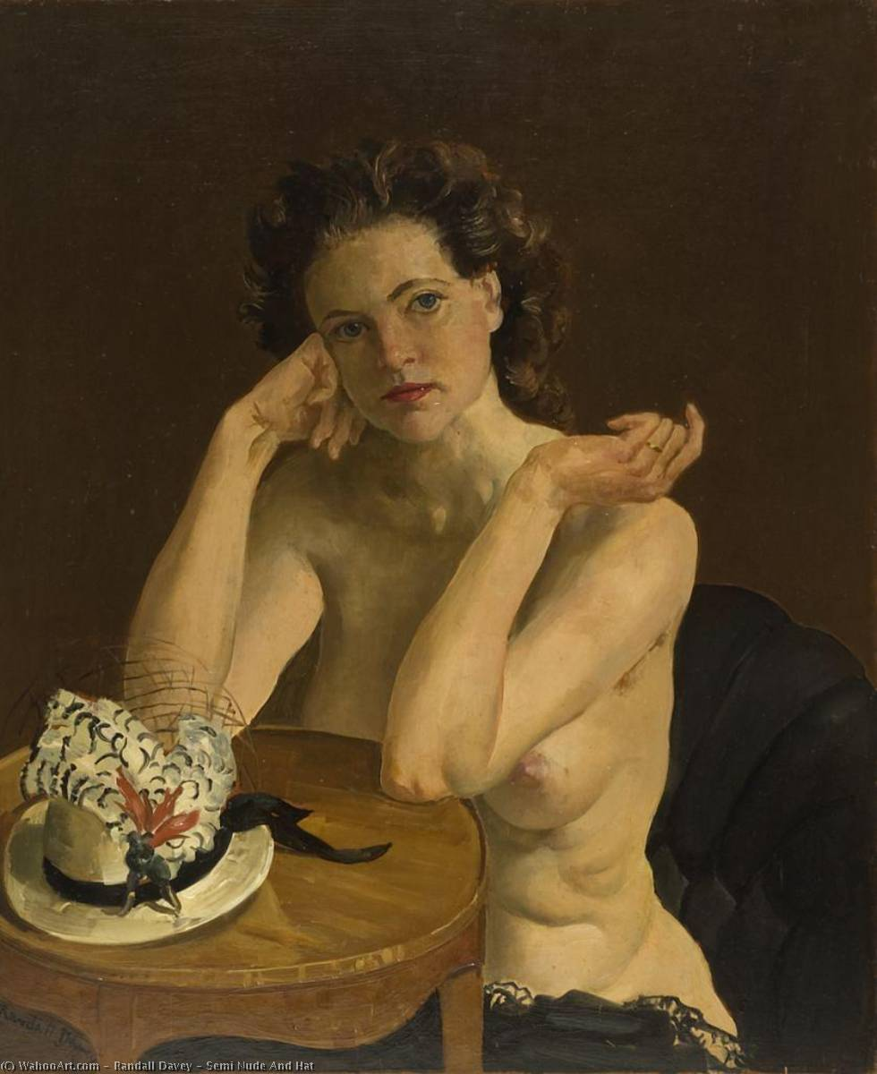 Semi Nude And Hat, 1942 by Randall Davey | Art Reproductions Randall Davey | WahooArt.com