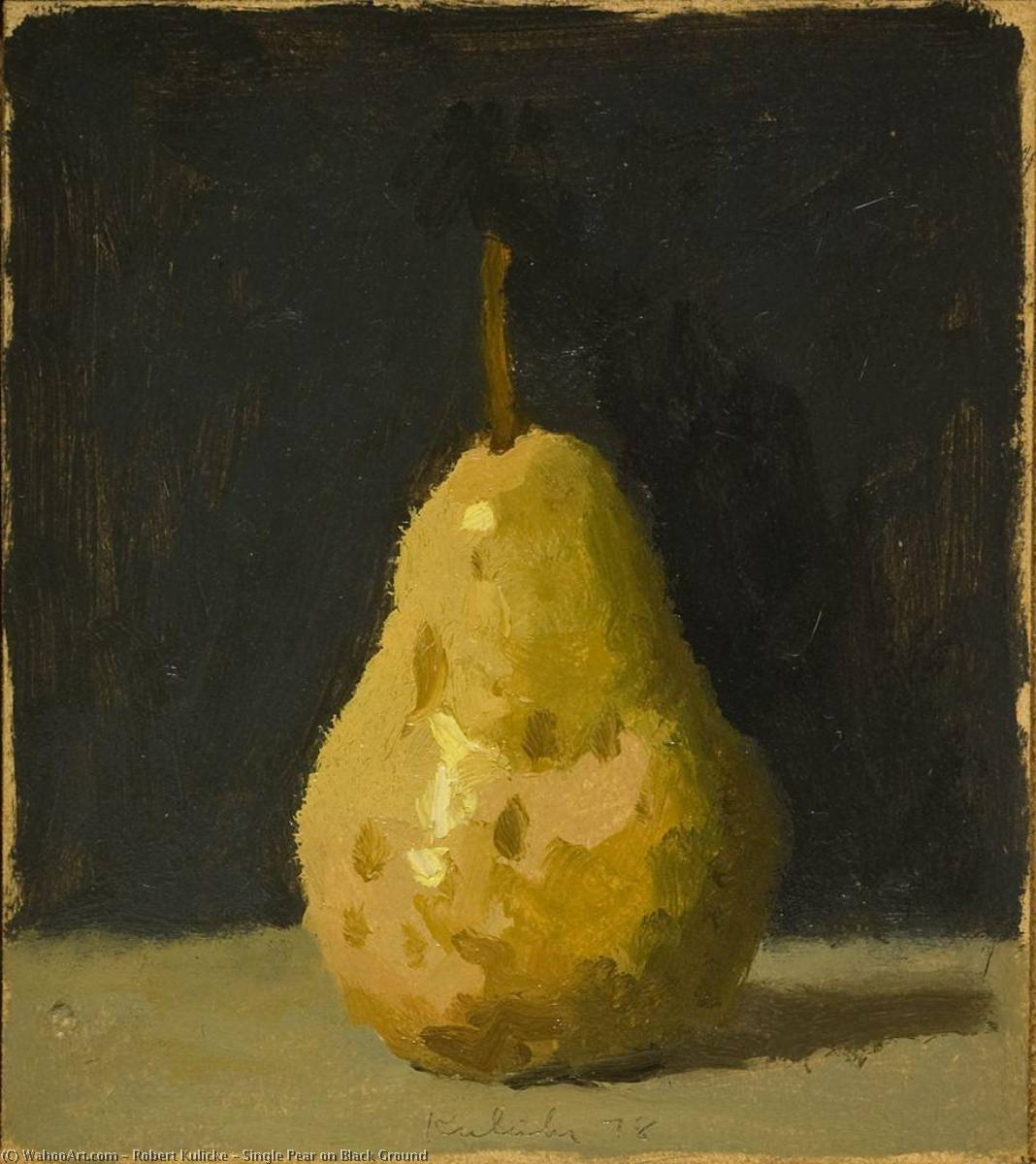 Single Pear on Black Ground, Oil by Robert Kulicke