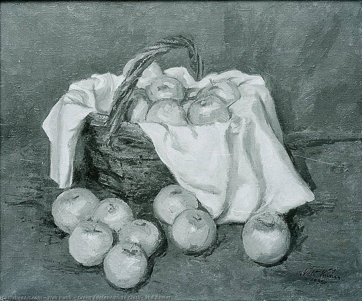 Green Apples, White Cloth, and Basket, 1935 by Walt Kuhn (1877-1949) | Museum Quality Reproductions | WahooArt.com