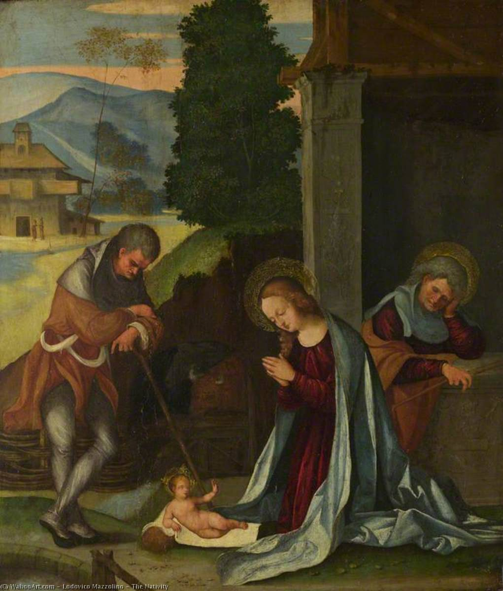 The Nativity, 1504 by Ludovico Mazzolino (1480-1528, Italy) | Museum Quality Reproductions | WahooArt.com
