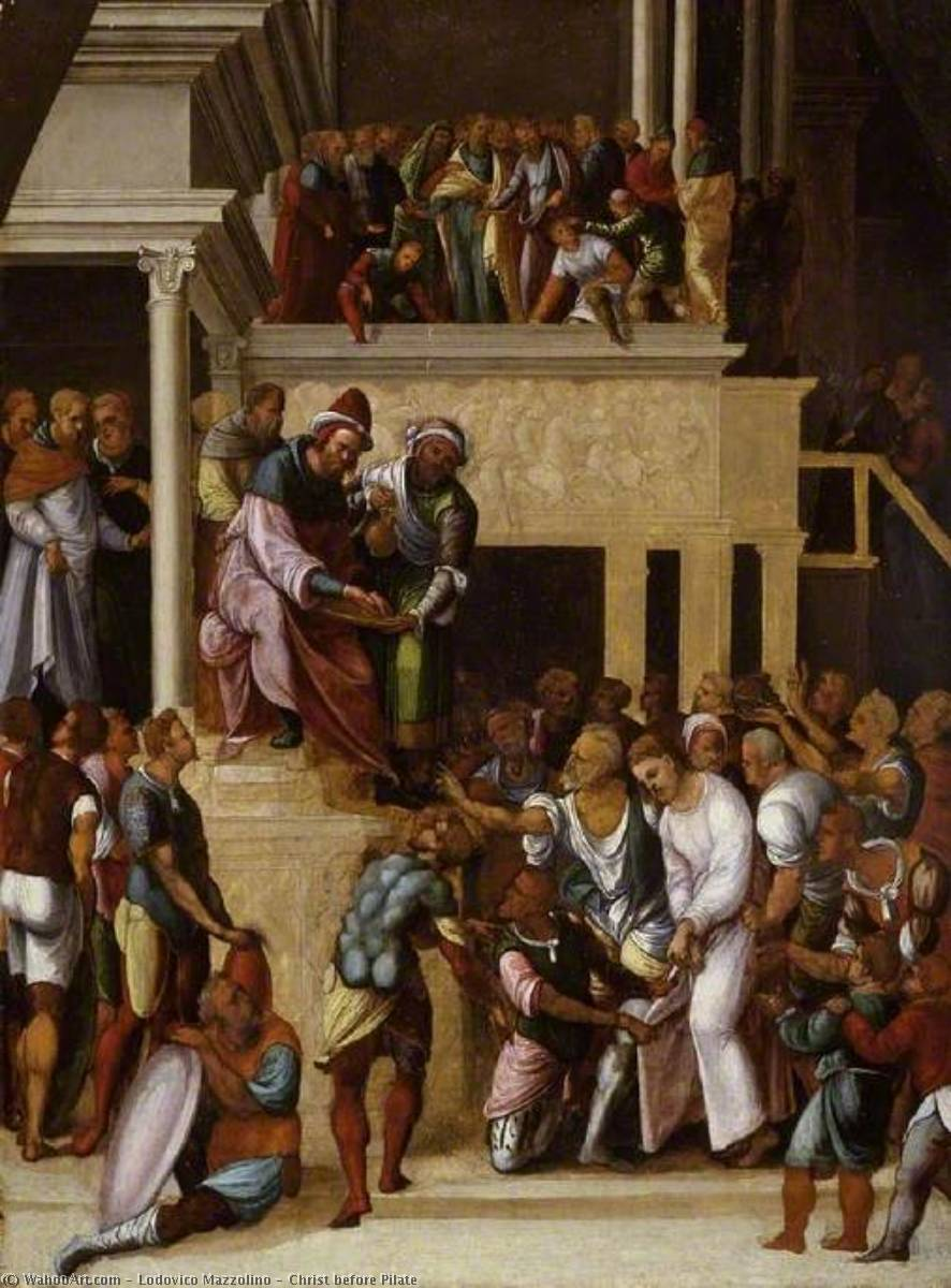 Christ before Pilate, 1530 by Ludovico Mazzolino (1480-1528, Italy) | Museum Quality Reproductions | WahooArt.com