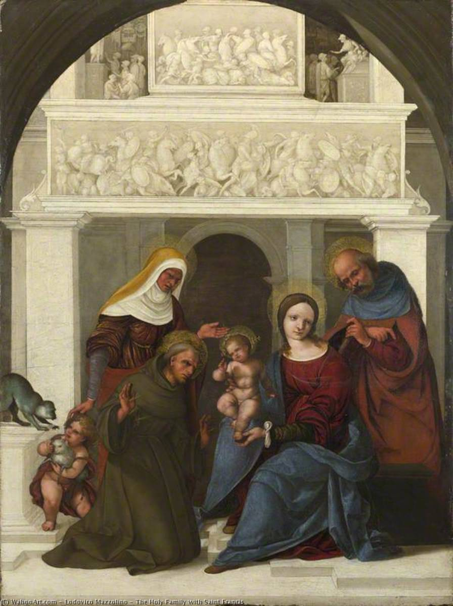 The Holy Family with Saint Francis, Oil by Ludovico Mazzolino (1480-1528, Italy)