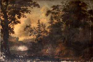 Gerard Van Edema - Wooded Rocky Landscape with Figures