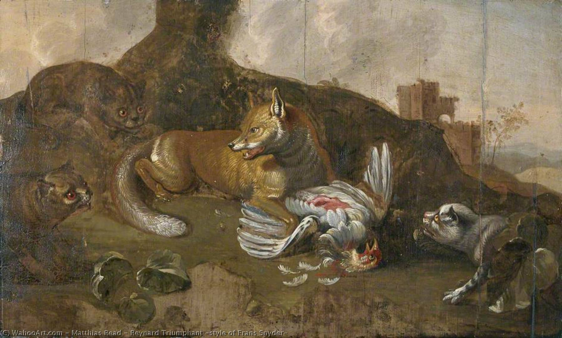 Reynard Triumphant (style of Frans Snyder), Oil On Panel by Matthias Read