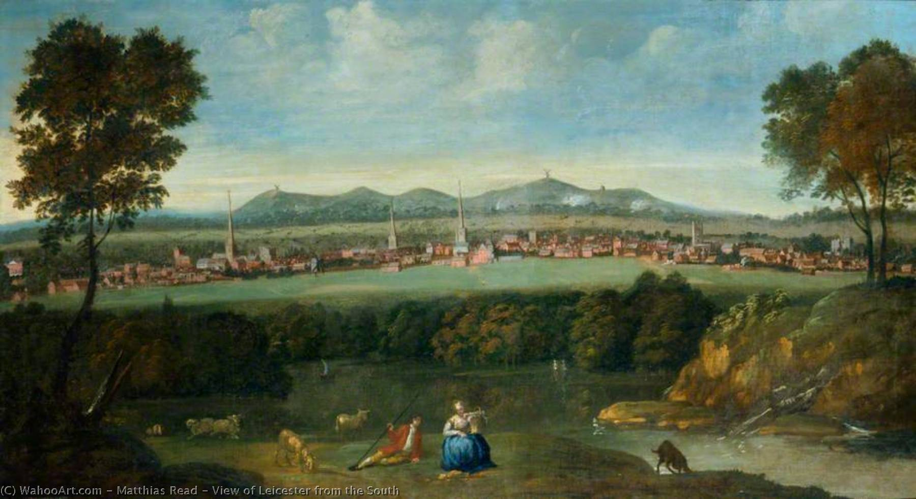 View of Leicester from the South by Matthias Read | Famous Paintings Reproductions | WahooArt.com