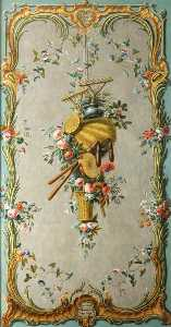 Dieudonné Deneux - Decorative Wall Panel with Garden Implements, Tambourine and Flowers