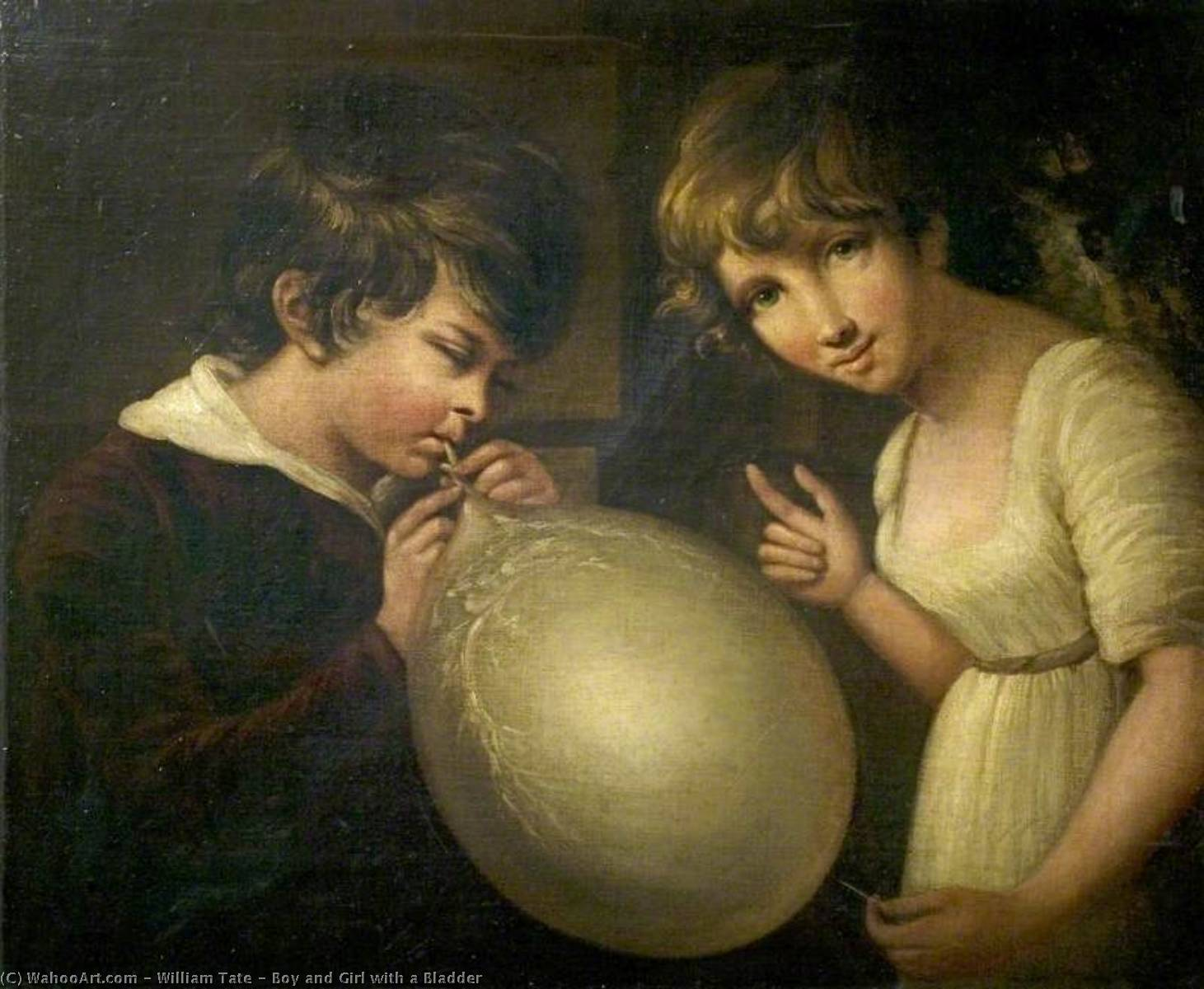 Boy and Girl with a Bladder by William Tate | Museum Art Reproductions William Tate | WahooArt.com