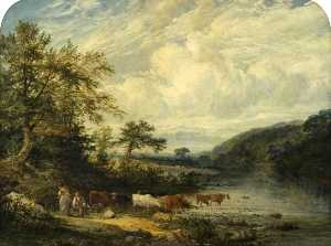 Benjamin Shipham - Landscape with Cattle and Figures