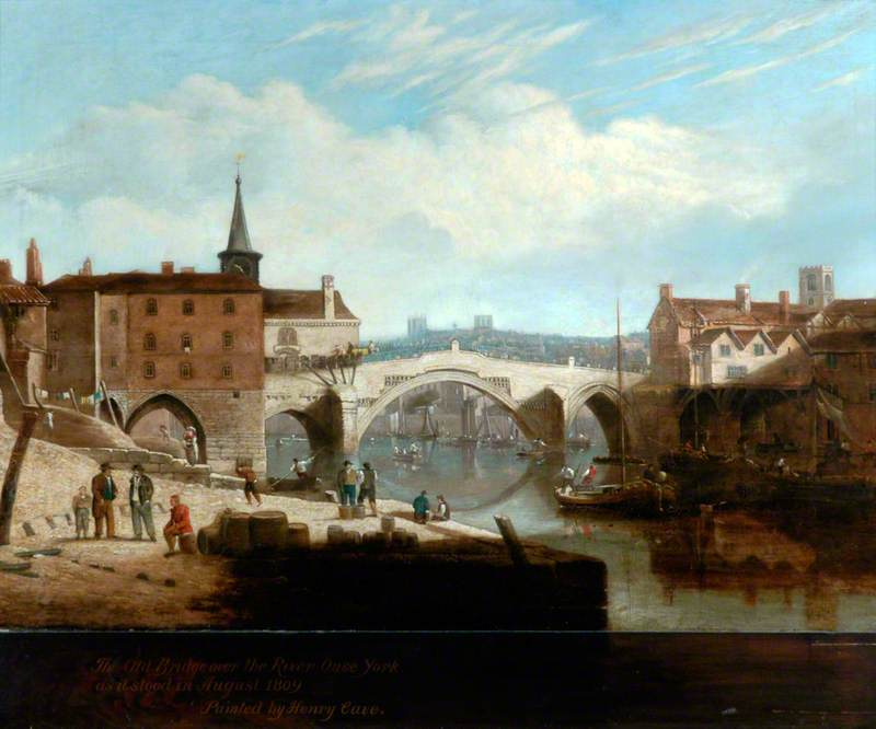 Order Reproductions | The Old Bridge over the River Ouse, York, 1809 by Henry Cave | WahooArt.com
